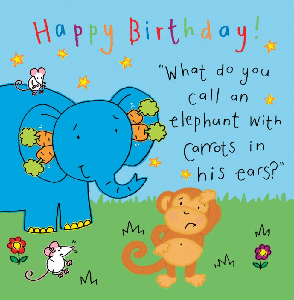 Elephant Funny Joke Birthday Card For Kids TW431